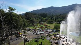 Aerial view Sankampang Geyser Water hot springs in Chiangmai, Thailand.