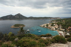 Aerial view of Sant Elm and Sa Dragonera. In Majorca stock image