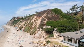 Aerial view of Santa Barbara Beach, California.  stock photo