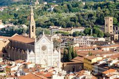 The Santa Croce Basilica and the historic centre of the medieval city of Florence in Italy. Aerial view of the Santa Croce Basilica and the historic centre of Royalty Free Stock Photography