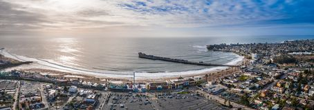 Aerial view of the Santa Cruz pier rollercoaster California USA. Longest wooden pier in the USA royalty free stock photography
