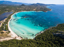 Aerial  view  of Santa Giulia beach in Corsica Island in France Royalty Free Stock Images