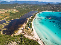 Aerial  view  of Santa Giulia beach in Corsica Island in France Stock Image