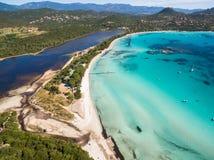 Aerial  view  of Santa Giulia beach in Corsica Island in France Stock Photos