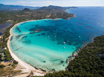Aerial  view  of Santa Giulia beach in Corsica Island in France Royalty Free Stock Photo