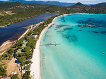 Aerial  view  of Santa Giulia beach in Corsica Island in France Royalty Free Stock Photos