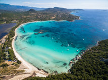 Aerial  view  of Santa Giulia beach in Corsica Island in France Royalty Free Stock Photography