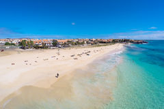 Aerial view of Santa Maria beach in Sal Cape Verde - Cabo Verde Royalty Free Stock Images