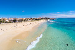 Aerial view of Santa Maria beach in Sal Cape Verde  Cabo Verde Royalty Free Stock Photos