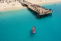 Aerial view of Santa Maria beach in Sal Island Cape Verde - Cabo Stock Photos