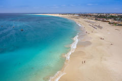 Aerial view of Santa Maria beach in Sal Island Cape Verde - Cabo Stock Photography