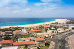 Aerial view of Santa Maria beach in Sal Island Cape Verde - Cabo Royalty Free Stock Photo