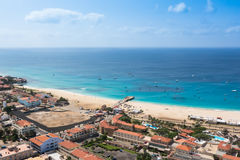Aerial view of Santa Maria beach in Sal Island Cape Verde - Cabo Royalty Free Stock Photography