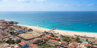 Aerial view of Santa Maria beach in Sal Island Cape Verde - Cabo Royalty Free Stock Photos