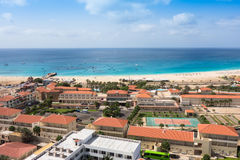 Aerial view of Santa Maria beach in Sal Island Cape Verde - Cabo Stock Image