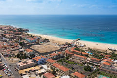 Aerial view of Santa Maria beach in Sal Island Cape Verde - Cabo Stock Photo