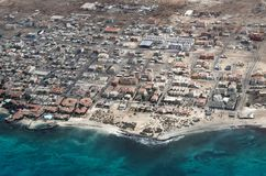 Aerial view at Santa Maria city from airplane, Cape Verde. Aerial view at Santa Maria city from airplane. Island Sal, Cape Verde royalty free stock image