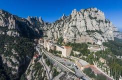 Aerial view of Santa Maria de Montserrat Abbey royalty free stock photo