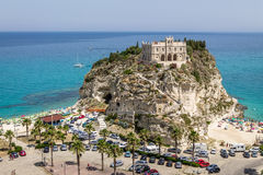 Aerial view of Santa Maria dell`Isola Church - Tropea, Calabria, Italy Stock Photo