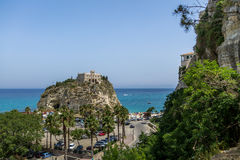 Aerial view of Santa Maria dell`Isola Church - Tropea, Calabria, Italy Royalty Free Stock Photos