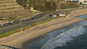 Aerial View of the Santa Monica California Coast - Los Angeles - Clip 2 stock footage