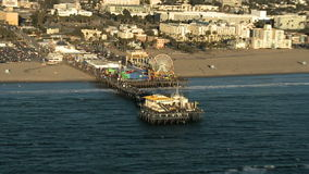 Aerial View of the Santa Monica Pier California Coast - Los Angeles - Clip 1 stock video