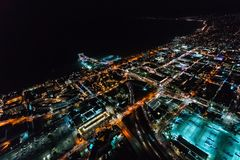 Aerial view of the Santa Monica shoreline at night Stock Photo