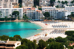 Aerial view of Santa Ponsa beach and hotels, Mallorca. Beautiful view of Santa Ponsa beach with white sand and azure water, Mallorca Royalty Free Stock Photo