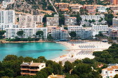 Aerial view of Santa Ponsa and the beach, Mallorca Royalty Free Stock Images