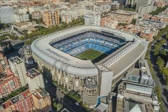 Aerial view of Santiago Bernabeu stadium in Madrid royalty free stock image