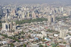 Aerial view of the Santiago city with the blue smog from the San Cristobal Hill, Santiago, Chile Stock Photography