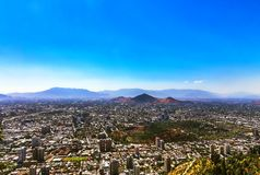 Aerial view of Santiago city, Chile stock photo