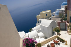 Aerial view of Santorini. An aerial view of the houses on the Greek island of Santorini Royalty Free Stock Images