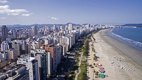 Aerial View Santos, county seat of Baixada Santista, located on. The coast of Sao Paulo, Brazil Stock Photos