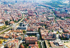 Aerial view of Sants-Montjuic residential district. Barcelona Royalty Free Stock Images