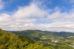 Aerial view of Sao Miguel Island with mountains and small villages, Azores, Portugal. Stock Photography