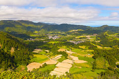 Aerial view on Sao Miguel island near Furnas, Azores, Portugal. Stock Photos