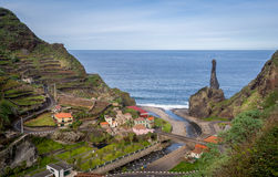 Aerial view of Sao Vicence town at Madeira island north shore. Stock Photo