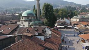 Aerial view on Sarajevo religion places stock video