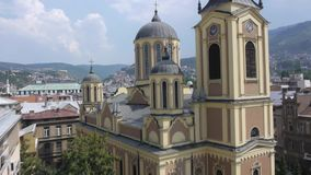 Aerial view on Sarajevo religion places stock video footage