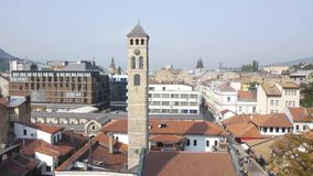 Aerial view on Sarajevo religion places stock footage
