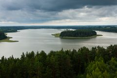 Aerial view of Sartai lake in Lithuania. As seen from Sartai Barstenai observation tower Stock Photography