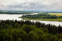 Aerial view of Sartai lake in Lithuania. As seen from Sartai Barstenai observation tower Stock Photo