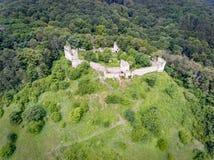 Aerial view of Saschiz fortress in Saschiz Saxon Village, Transylvania royalty free stock images