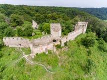 Aerial view of Saschiz fortress in Saschiz Saxon Village, Transylvania stock photo