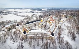 Aerial view on Savvino-Storozhevsky Monastery in Zvenigorod Royalty Free Stock Photography