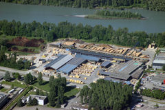 Aerial View of Sawmill Royalty Free Stock Photography