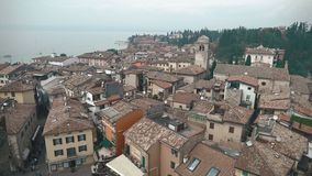 Aerial view of the Scaliger Castle in Sirmione by lake Garda, Italy stock video