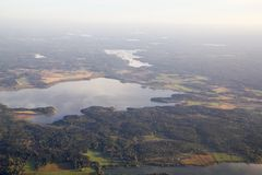 Aerial view of Scandinavian landscape and lakes Stock Photo