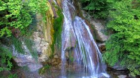 AERIAL VIEW. Scenery Of Beautiful Full-Flowing Waterfall Dzhur Dzhur in Crimea stock video footage